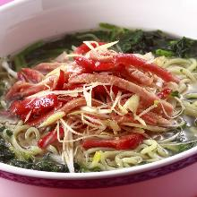 Soup soba noodle with green onions and roasted pork