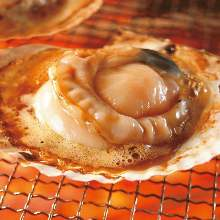 Charcoal grilled live scallop
