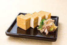 Deep-fried tofu without breading or batter