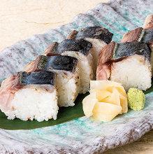 Soused mackerel rod-shaped sushi