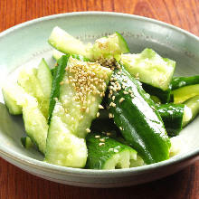 Crushed cucumber with sesame oil and salt