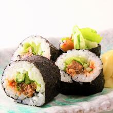 Horse meat sushi rolls