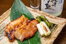 Grilled pork belly with miso sauce