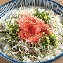Shirasu(whitebait) and Mentaiko Gohan(marinated cod roe rice)