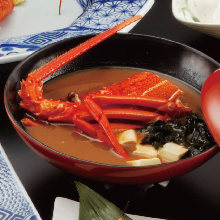 Clear broth soup with shrimp