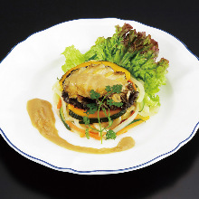 Grilled abalone with butter