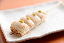 Grilled chicken tenderloin skewer with yuzu pepper