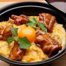 """Oyako"" locally raised chicken and egg rice bowl"