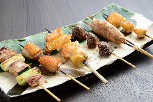 Assorted grilled chicken skewers, 6 kinds