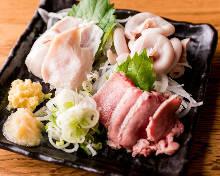 Assorted offal sashimi