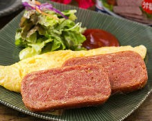 Pork and eggs with corned beef hash
