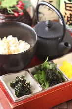 Nori chazuke (dried seaweed and rice with tea)