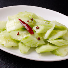 Chilled cucumber with garlic sauce