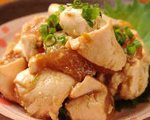 Slightly boiled chicken tenderloin with wasabi