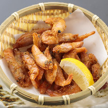 Fried pink shrimp