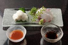 Pufferfish skin sashimi