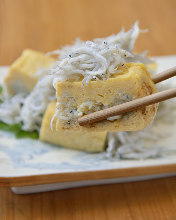 Thick Japanese omelet with whitebait