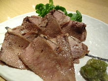 Seared beef tongue