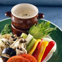 Seasonal grilled vegetables with bagna cauda