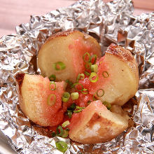 Baked potato with spicy cod roe and butter