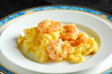 Stir-fried shrimp and egg