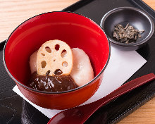 Zenzai (sweet red bean soup with toasted rice cake or chestnuts)