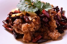 Extra spicy stir-fried chicken and Sichuan chili peppers