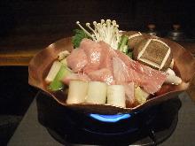 Tuna and green onions hotpot