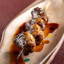 Grilled eel heads
