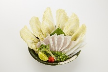 Chopped pufferfish sashimi