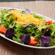 Caesar salad with purple sweet potato