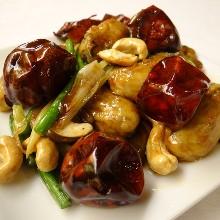 牡蠣の四川唐辛子炒め