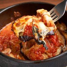 Oven-baked mozzarella cheese