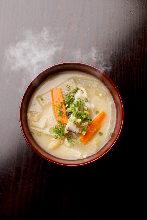 Soup with sake lees