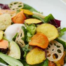 Salad seasoned with sesame oil and salt