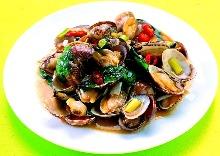 Stir-fried manila clams