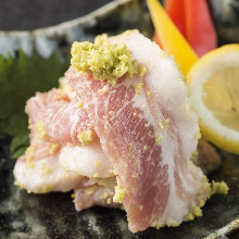 Pork jowl with wasabi