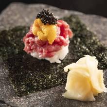 Hand-rolled sea urchin sushi