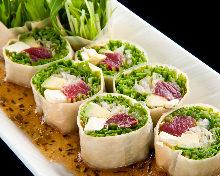 Tuna and avocado wrapped in yuba (tofu skin)