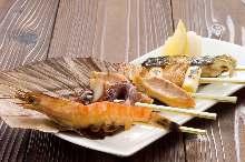 Grilled seafood skewer