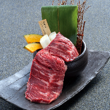 Tsuboduke harami yaki (marinated and grilled skirt steak)