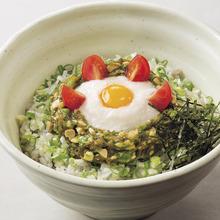 """""""Neba-neba"""" fermented soybean, okra and grated yam rice bowl"""