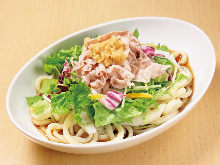 Cold wheat noodles served in a salad