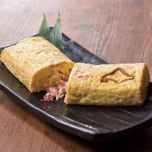 Japanese-style rolled omelet with crab
