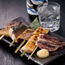 Assorted grilled and skewered dried fish