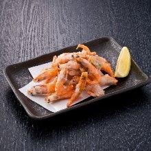 Fried pink shrimp