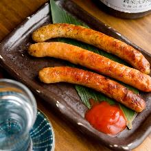 Charcoal grilled sausage