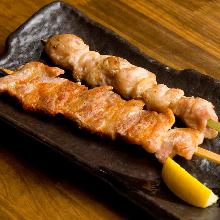 Grilled chicken thigh skewer
