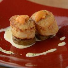 Urchin-grilled scallops