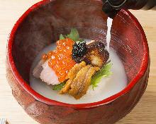 White chicken broth chazuke (rice with tea)
